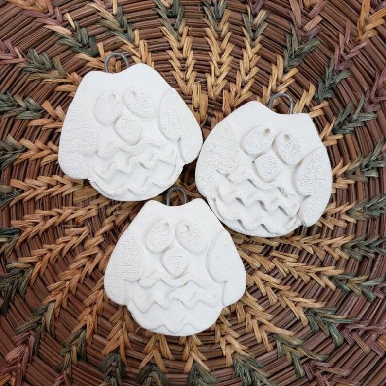Set of 3 Small Owl Pendants Ceramic Bisque Pendant  Bisque image 0