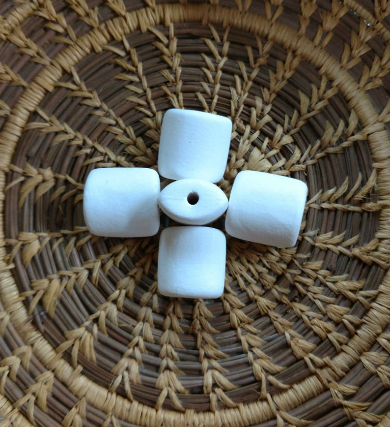 5 Medium Pillow Porcelain Bisque Bead Blanks Bisque Blanks image 0