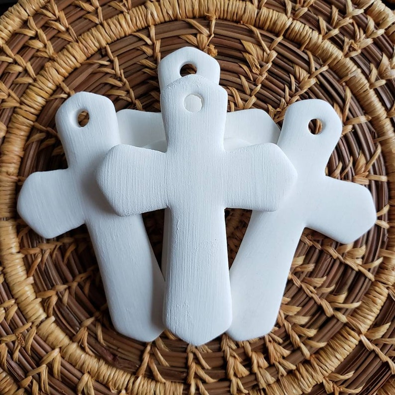 Set of 4 Porcelain Bisque Cross Pendants  Porcelain bisque image 0