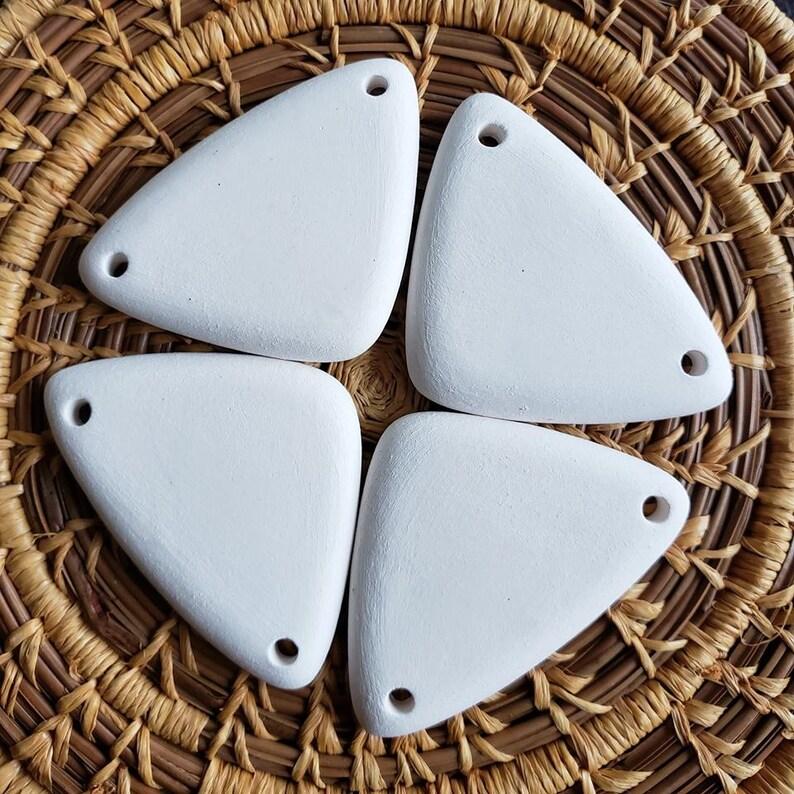 Set of 4  Stoneware Bisque Pendants Triangle Pendants image 0