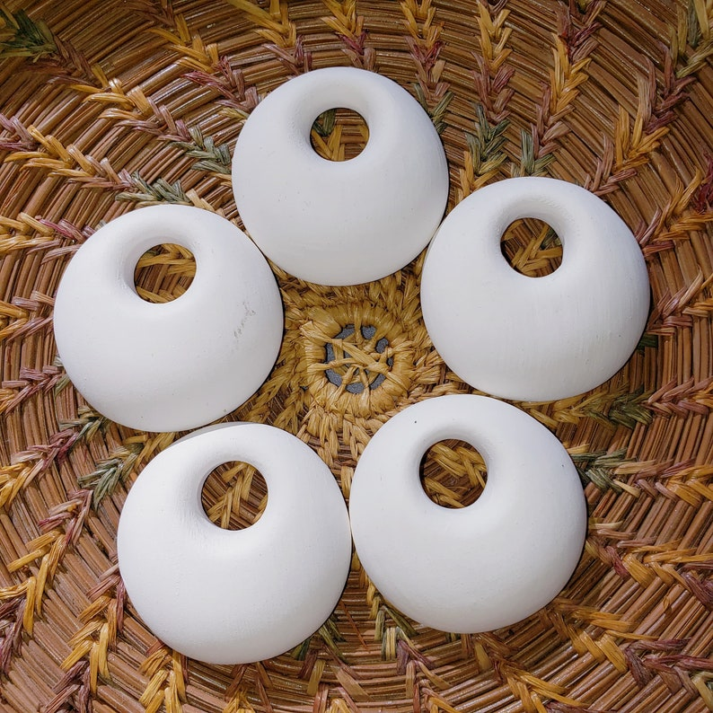 Set of 5 Porcelain Puffy Round Bisque Pendants Porcelain image 0