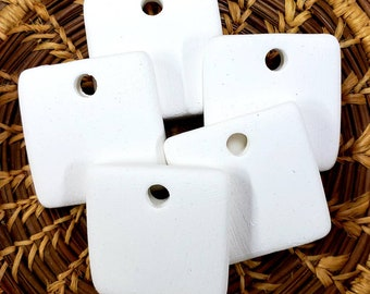 Set of 5 Small Square Bisque Pendants, Stoneware bisque,Ceramic Bisque Pendant,Square Pendant, Stoneware bisque,Bisque Blanks