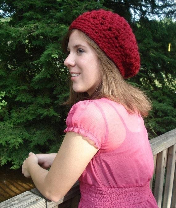Crochet Beret Hat Pattern Bonjour Beret Womens Hat For Etsy
