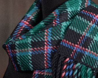 Black and green plaid scarf / handwoven scarf / merino wool scarf / winter scarf