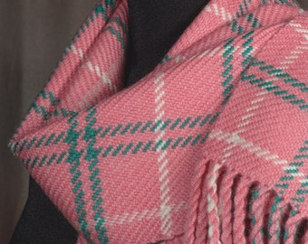 Coral scarf / handwoven scarf / merino wool scarf / winer scarf