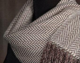 Brown and cream herringbone scarf / handwoven scarf / merino wool scarf / winter scarf