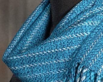 Blue striped tweed scarf / handwoven scarf / merino wool scarf / winter scarf / man's scarf / woman's scarf