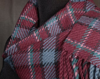 Red plaid scarf / handwoven scarf / merino wool scarf / winter scarf