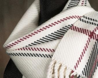White scarf / handwoven scarf / merino wool scarf / winter scarf