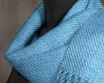 Blue scarf / handwoven scarf / merino wool scarf / winter scarf / sky blue
