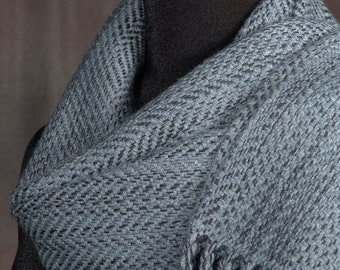 Charcoal gray scarf / handwoven scarf / merino wool scarf / winter scarf