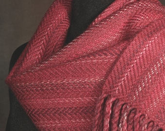 Red scarf / hand woven scarf / merino wool scarf / winter scarf
