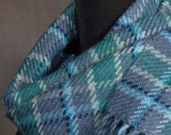 Blue-green plaid scarf / handwoven scarf / merino wool scarf / winter scarf