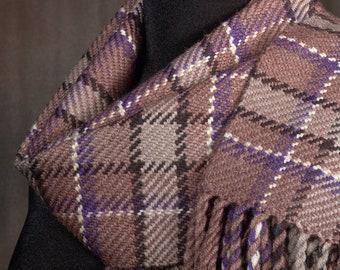 Brown plaid scarf / handwoven scarf / merino wool scarf / winter scarf