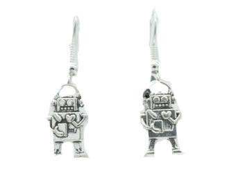 Silver Robot  Love Earrings with Hearts