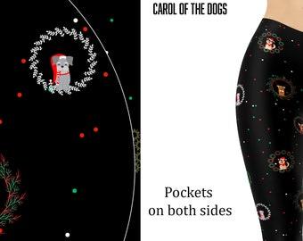 XL L S M Chihuahua Dog Yoga Leggings Black Floral Print Adult Sizes XS
