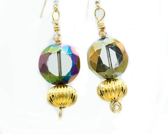 Set of earrings Cosmic Glass on Gold Swarovski Glass set Gold Plated Global