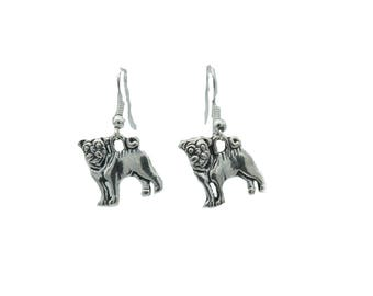 Dangle Earrings with Pug Puppy Charm