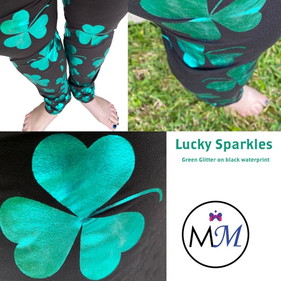 Clovers St Patricks Leggings on Black with Real Green Glitter and Pockets