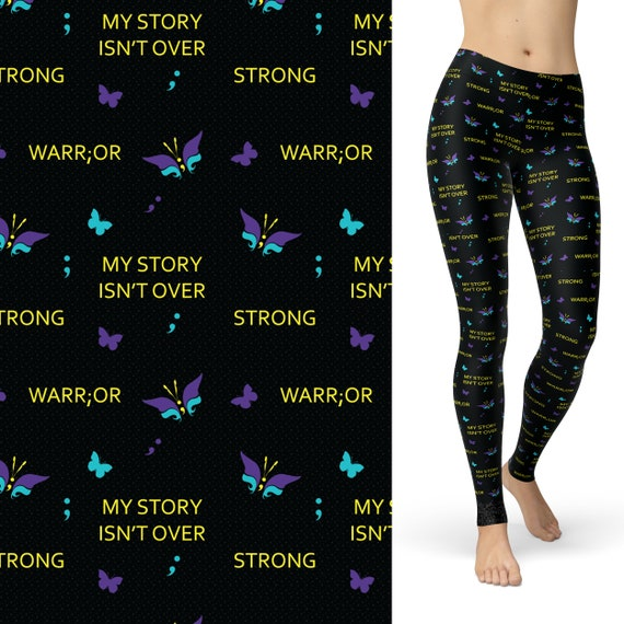 My Story Isn/'t Over Yet Semicolon Butterfly SOFT Full Leggings OS TC Plus Suicid
