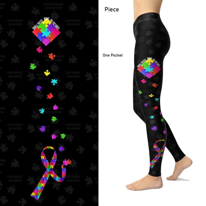 Autism Women Leggings Printed Puzzle Piece Leggings Autism Gifts Fashion For Mom Aunt Grandma Autism Awareness Leggings For Women