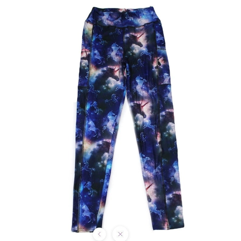 Unicorn Leggings on Blue and Black Cloud with Pockets