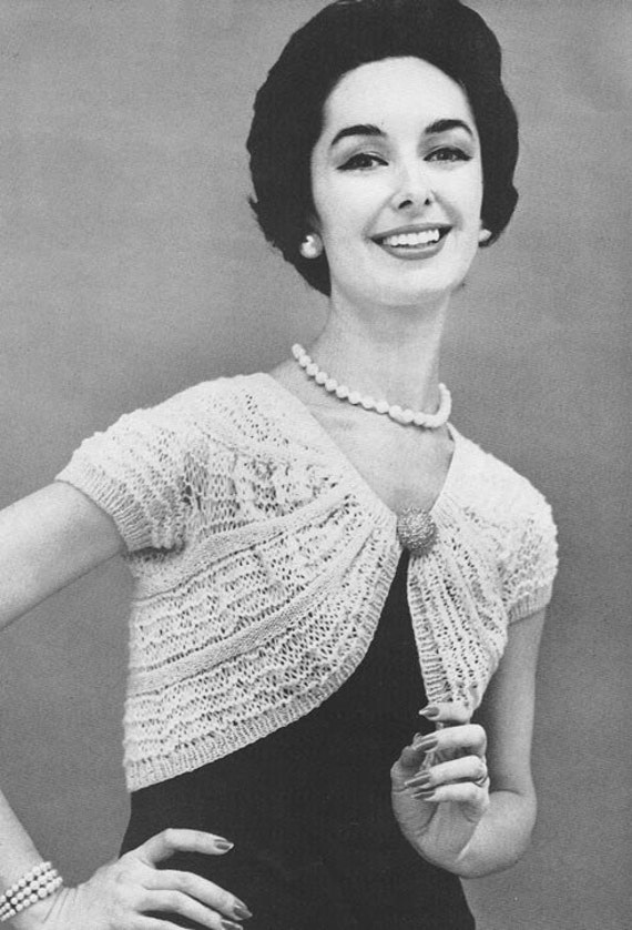1950s Knitted Shrug Vintage Knitting Pattern Instant Etsy