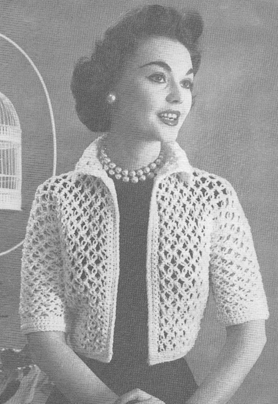 1950s Shortie Jacket Vintage Crochet Pattern Pdf Instant Download