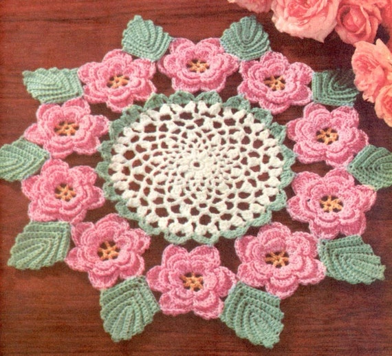 1950s Irish Rose Doily Vintage Crochet Pattern Pdf Etsy