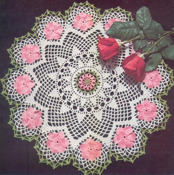 1950s Wild Rose Doily Instant Download Vintage Crochet Etsy