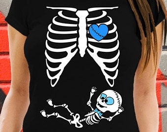 Halloween Skeleton Baby Bowtie Pregnancy T-shirt Ribcage Zombie Baby Boy Belly Tee Maternity Costume Raglan X-Ray Ribcage Mommy to be AR-6