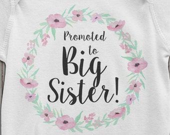Big Sister t-shirt | Promoted to Big Sister Baby Bodysuit | Pregnancy Reveal | Pregnancy Announcement Toddler Tee | AR-121