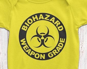 BIOHAZARD Baby BodySuit - BioHazard T-Shirt - Funny Baby Gift - Newborn Baby Bodyuit - Gender Neutral Baby Gift -Funny Newborn Tee AR-109