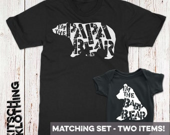 Papa Bear Baby Bear Fathers Day Matching Family T-Shirt Set Father Son T-shirts Shirt Set Gift for Dad Newborn Baby Bodysuit AR-87-89