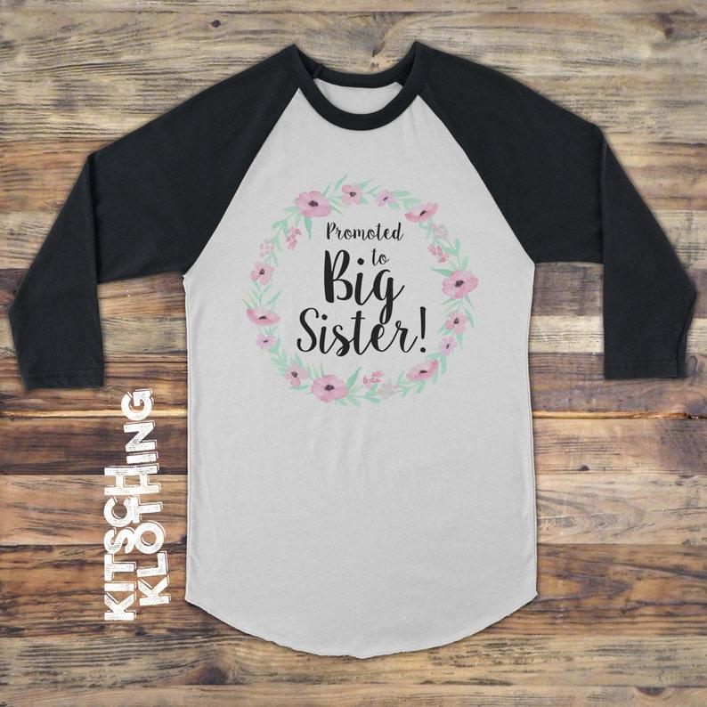 Big Sister tshirt  Promoted to Big Sister Raglan Shirt  image 0