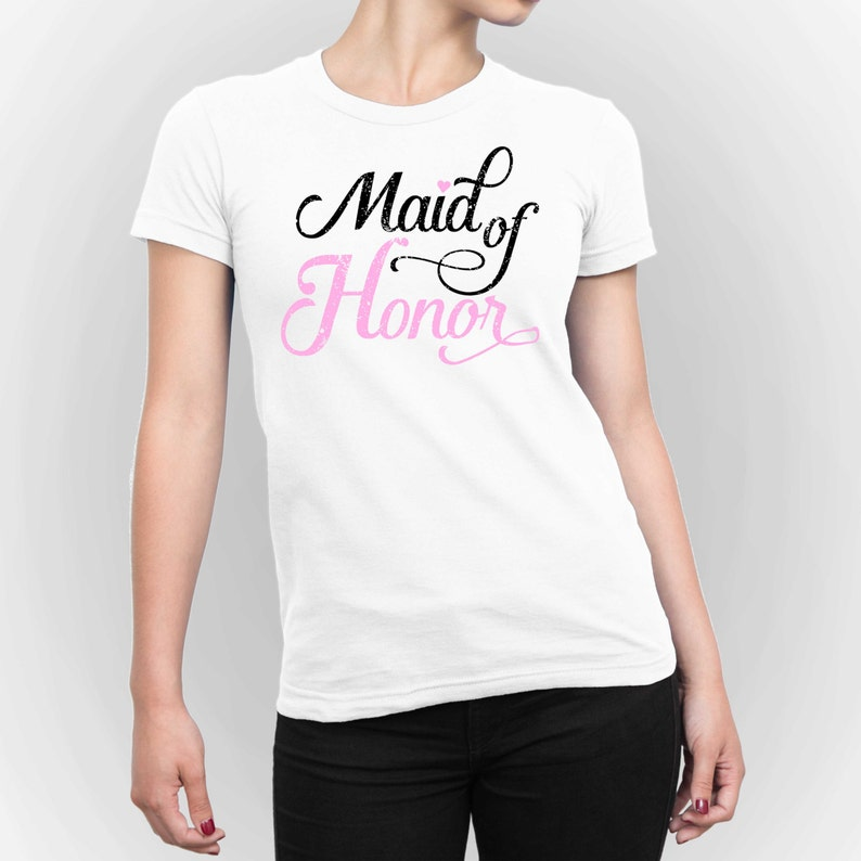 Maid of Honor T-shirt Bridal Party T-Shirt Bachelorette Shirt image 0