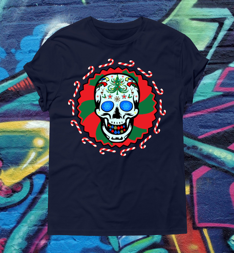 Christmas Sugar Skull T-Shirt Candy Cane Psychedelic Skeleton image 0