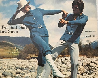 Vintage Spinnerin 225 - For Surf, Sun and Snow - 70s Knitting Patterns Women & Men 70s Knitwear Fashion Pattern
