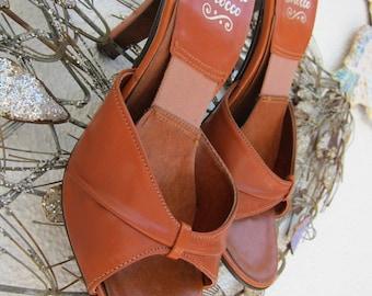 70s Vintage Leather Springolator Pinup Slides Shoes Mules - Springolators High Heel Heels Slide Pin Up Disco Approx Size 6.5 to 7