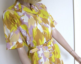70s Vintage Abstract Camo Splash Dress Shirtdress Shift - Lilac Lavender - Yellow - White - Starfish Nougat Taupe - B 40