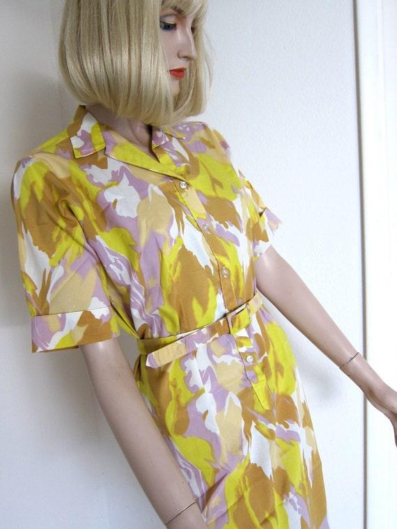 SM Vintage 70s splash dress Blue print dress 70s Hippie pattern urban dress Yellow orange and olive pattern