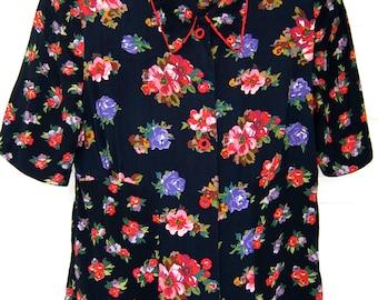 80s Vintage Carole Little Boho Blouse Authentic Vintage Shirt - Folk Floral Top - Black Mixed Prints - 80s Does 40s - Small 4