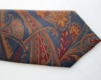 70s Lilly Dache Silk Tie Vintage - Paisley - Egyptian Papyrus Motif - Mens Silk Necktie - Designer Vintage Fashion Accessory