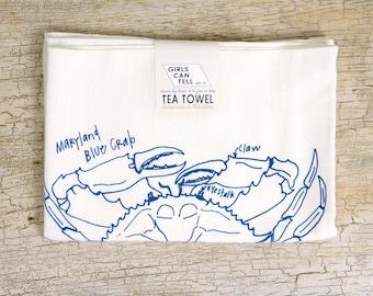 Crab Tea Towel Etsy