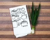 pots and pans tea towel - dish towel - kitchen dish cloth - bridal shower gift printed towels - foodie wedding gift housewarming gifts