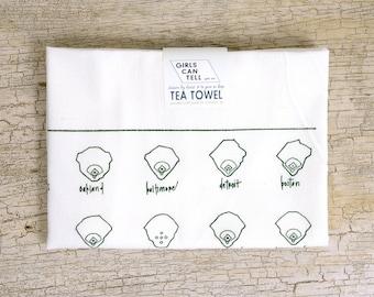 Baseball Fields (American League) Tea Towel, Kitchen Towel, Towels, Baseball, Wedding Gift Housewarming Gift Dish Towel, White Dish Cloth