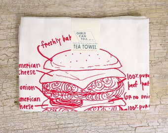 Burger Tea Towel, Kitchen Towel, Foodie, Grill Master, Gifts for Men, Father's Day Gift, Hostess Gift, Dish Towel, White Dish Cloth,