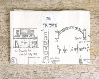 Pride Landmarks Tea Towel, LGTBQIA+ Gift, San Francisco, Philadelphia, Stonewall Inn, Pride Gift, Cotton Towel, Kitchen Towel, Friend Gift