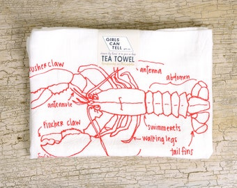 Lobster Tea Towel, Lobster Towel, Kitchen Towel, Apartment dish Towel, White Cotton Dish Towel, Housewarming Gift, Christmas gift, Seafood
