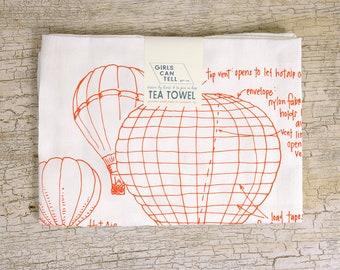 Hot Air Balloon Tea Towel, Kitchen Towel, Air Travel, Diagram Drawings, Housewarming Gift, Dish Towel, White Dish Cloth